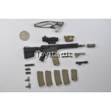 DAMTOYS 78044B - FBI SWAT Team Agent - San Diego (Midnight Ops) - M4 Carbine Rifle with Troy Handguard set