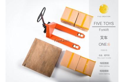 FIVE TOYS F2001 1/6  Metal movable forklift Pallet Carton