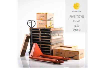 FIVE TOYS F2001 1/6 Metal movable forklift Pallet Carton Accessory